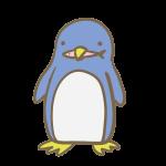 魚をくわえたペンギン