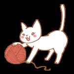毛糸玉にじゃれる猫