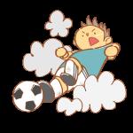 サッカーでスライディングをする男性