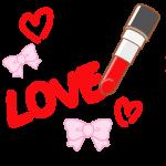 口紅で書かれた「LOVE」の文字