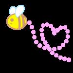 ハートの形に飛ぶミツバチ