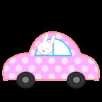 水玉の車とウサギ