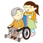 車いすのお爺さんと女性スタッフ(笑顔)
