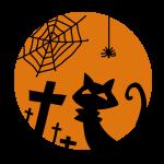 猫と蜘蛛とお墓のシルエット