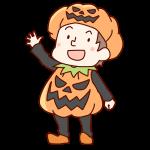 かぼちゃの服を来た男の子