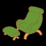 緑色のフットレスト付きチェア