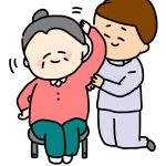 座って体操するおばあちゃん