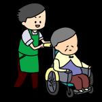 介護士と車いすのおばあちゃん