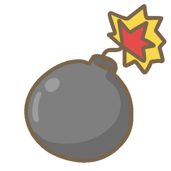 丸い爆弾のイラスト   かわいいフリー素材が無料のイラストレイン