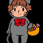 仮装した子ども(黒猫)