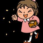 豆まきをする女の子