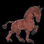 濃い水彩画タッチの馬