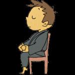 椅子に座って座禅する人