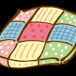 パッチワークのベッドカバークッション