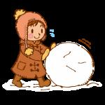 雪だるまを作る女の子
