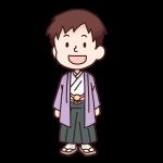 紫色の袴を着た男の人