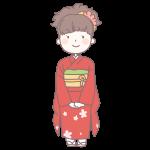 赤い着物を着た成人女性