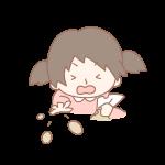 豆を投げる女の子