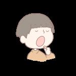 豆を食べる男の子