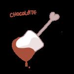 チョコレートがついたマシュマロ