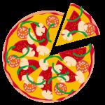 トマトとサラミのミックスピザ