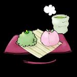 緑とピンクの和菓子