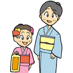 着物母と娘