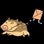 猪と凧揚げ