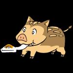 お餅を食べる猪