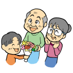 お花をプレゼントする孫