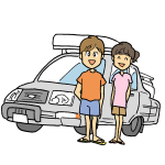 カップルと車