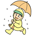 傘をさしている男の子