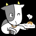 お餅を食べる牛