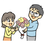 パパから娘へ花束のプレゼント