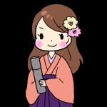 卒業証書を持った袴を着た女性