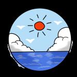 太陽と入道雲と海
