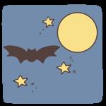 夜空を飛ぶコウモリ