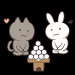 ダンゴを見つめる猫とウサギ
