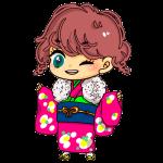ピンクの着物を着た女の子