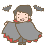 仮装する男の子(吸血鬼)