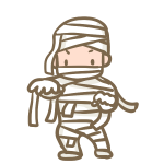 仮装する男の子(ミイラ)