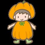 仮装する男の子(かぼちゃ)