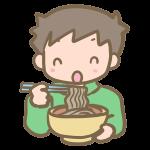 年越し蕎麦を食べる男の子