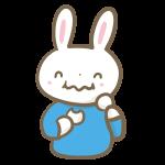 団子を食べるウサギの男の子