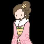 ピンクのお振り袖を着た成人女性