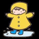 雨合羽の男の子