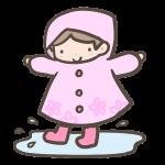 雨合羽の女の子