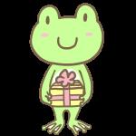 プレゼントを渡すカエルくん