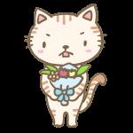 花束を渡すネコくん