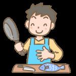 料理をふるまう男性
